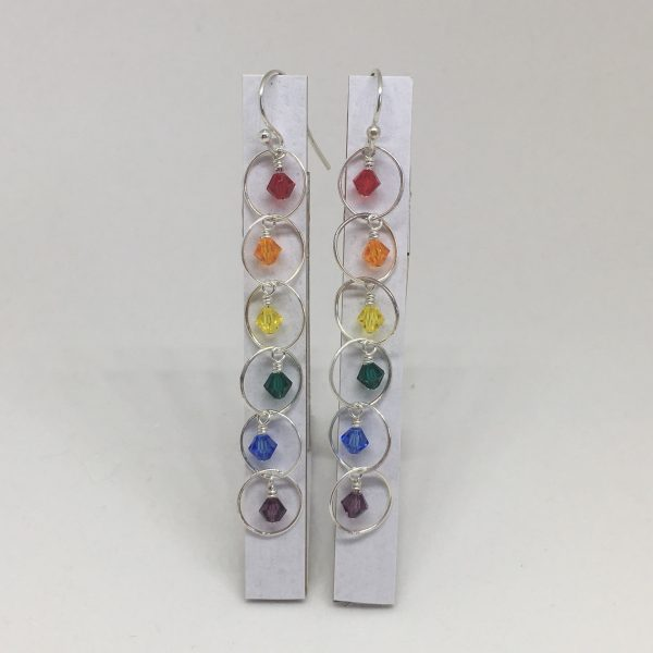 Rainbow Silver Dangle Earrings